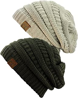 a007a11acd5e77 C.C Trendy Warm Chunky Soft Stretch Cable Knit Beanie Skully, 2 Pack