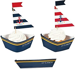 Fun Express Nautical Baby Boy Shower Cupcake Collars and Picks Decoration Set - 50 Units