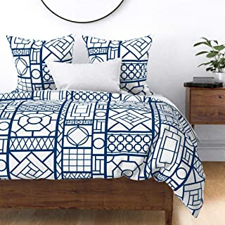 Roostery Duvet Cover, Navy Blue White Chinoiserie Asian Bamboo Hollywood Regency Palm Beach Fretwork Lattice Print, 100% Cotton Sateen Duvet Cover, Twin