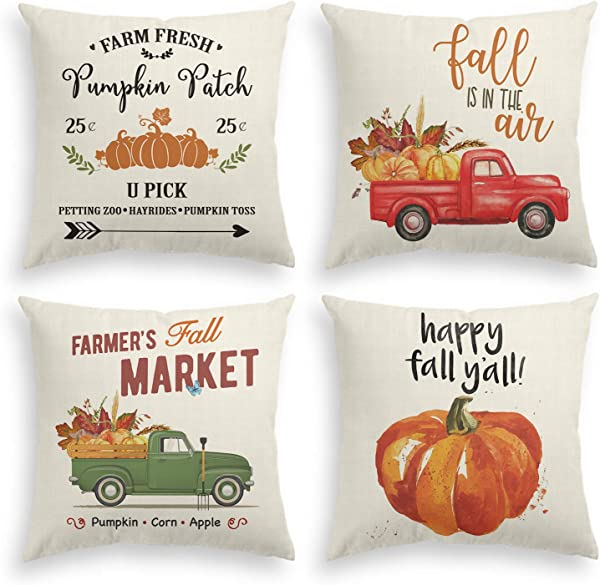 AVOIN Fall Rustic Throw Pillow Cover Watercolor Pumpkin Patch Truck Pick Up 18 X 18 Inch Autumn Thanksgiving Harvest Vintage Farmhouse Linen Cushion Case For Sofa Couch Set Of 4