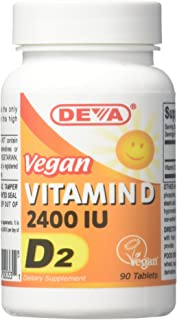 Deva Nutrition Vegan D2 Vitamin D 2400 IU, 90 Tablets (Pack of 2)