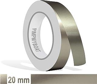 Siviwonder Zierstreifen Nickel metallic Glanz in 20 mm Breite und 10 m Länge Folie Aufkleber für Auto Boot Jetski Modellbau Klebeband Dekorstreifen grau Silber