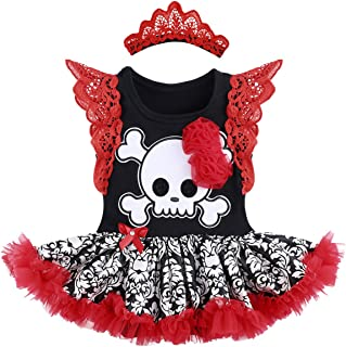 Baby Girls 1st Halloween Outfit Santa Skull Romper Flutter Sleeve Bodysuit Tutu Dress Headband Shoes Leg Warmer Clothes