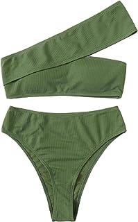 SweatyRocks Women's Bathing Suits One Shoulder Ribbed Bikini Set High Waisted Swimsuits