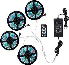 Richsing LED Strip Lights 65.6ft/20M RGB LED Light Strip with Remote SMD2835 4 Pack 1200LEDs 12V Led Lights for Room Garden Party
