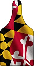Lunarable American Cutting Board, Flag of the US State of Maryland Closeup 3D Style Picture Waving America National, Tempered Glass Serving Board, Wine Bottle Shape, Medium Size, Yellow Red