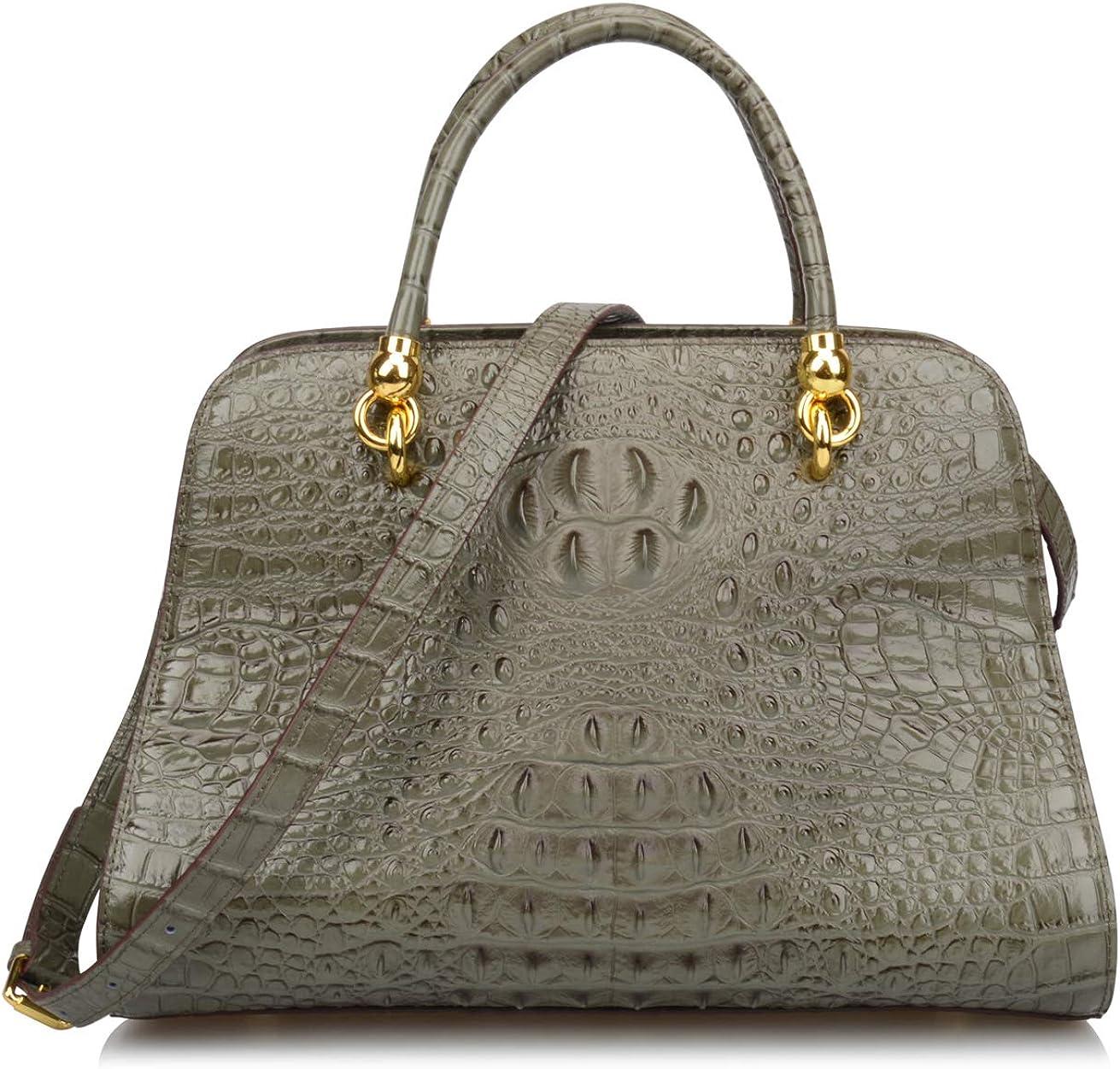 Ainifeel Women's Genuine Leather Crocodile Embossed Top Handle Handbags Shoulder Bags Satchel Purses