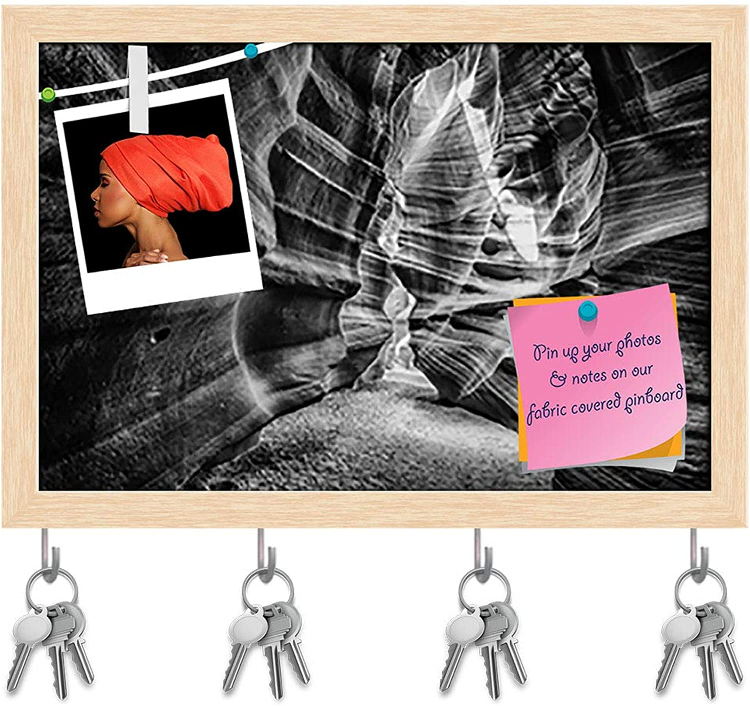 Artzfolio Dramatic View of Navajo Antelope Canyon D2 Key Holder Hooks   Notice Pin Board   Natural Brown Frame 17.5 X 12Inch