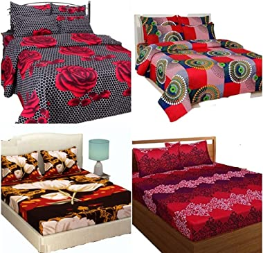 Geiva Polycotton 3D Double Bedsheets - 4 Bedsheets & 8 Pillow Covers (Check|Classy Red|Coca Cola with White Flower|Dotted
