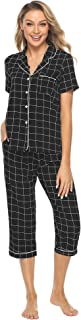 Women's Sleepwear Plaid Short Sleeve & Cropped Trousers Button Down Pajama Sets S-XL