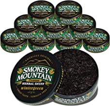 Smokey Mountain Wintergreen Snuff, 10 Cans, no Tobacco and no Nicotine, Refreshing Herbal and Smokeless Chew Alternative