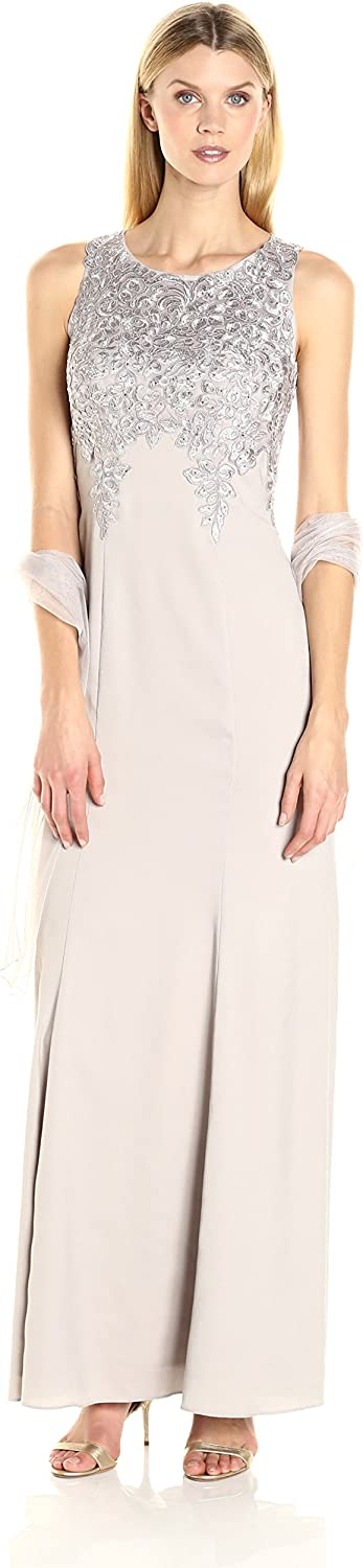 Alex Evenings Womens Long Embroidered Dress with Shawl Dress