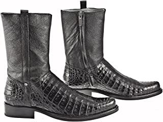 Cuadra Dress Boots with Zipper Chocolate and Black - Cayman Leather - Handmade - Sizes from 7 to 11