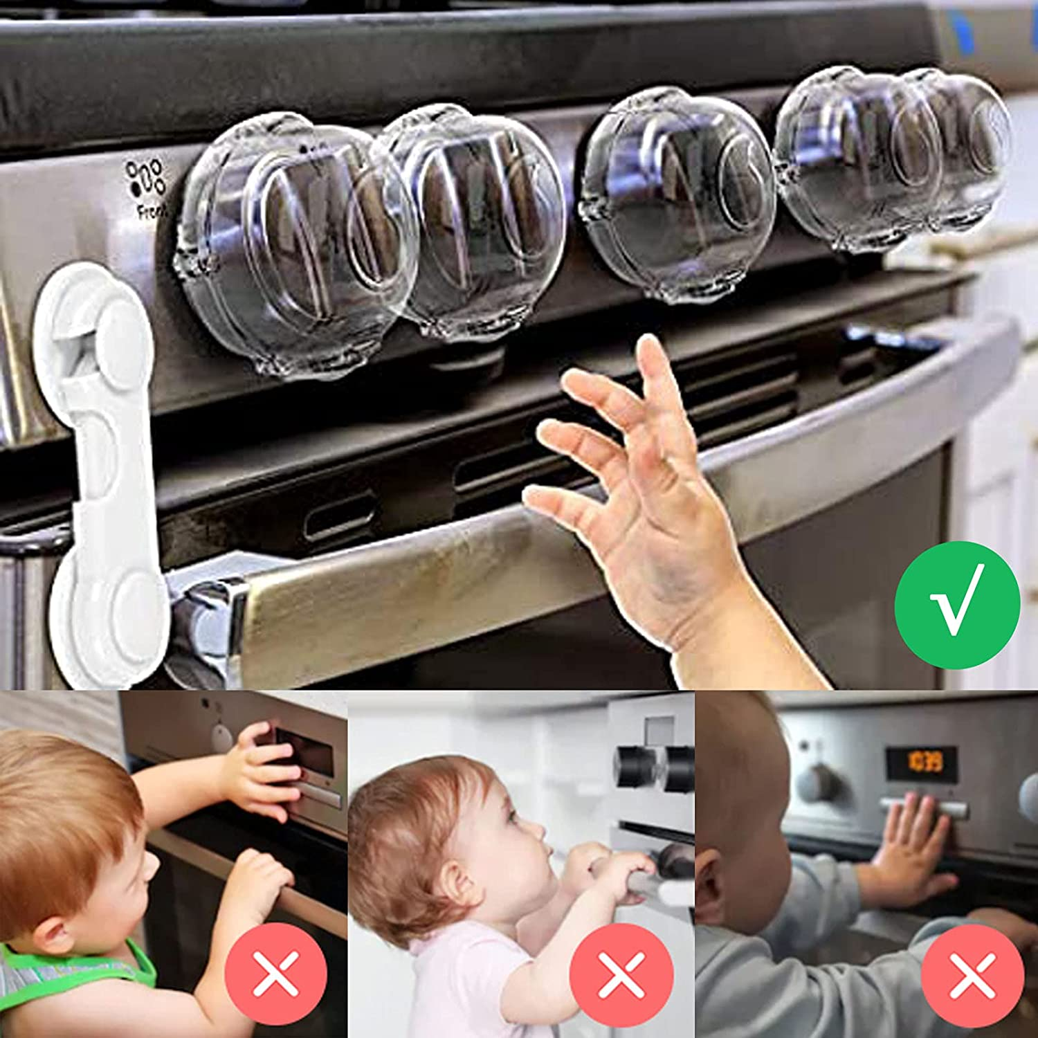 Stove Knob Covers for Child Safety, 2 Pcs Oven Lock Child Safety and 4 Pcs Gas Stove Knob Covers Kitchen Safety Guards for Kids, Baby, Toddler, Clear Oven and Gas Knob Cover
