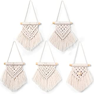 5 Pieces Mini Macrame Wall Hanging Decor Handmade Woven Tapestry Tassel Wall Hanging Ornaments Boho Wall Hanging Macrame for Apartment Room Home Office Decoration