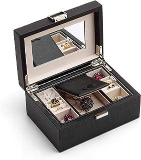 Vlando Jewelry Box, Jewelry Organizer and Storage (Black) (Renewed)