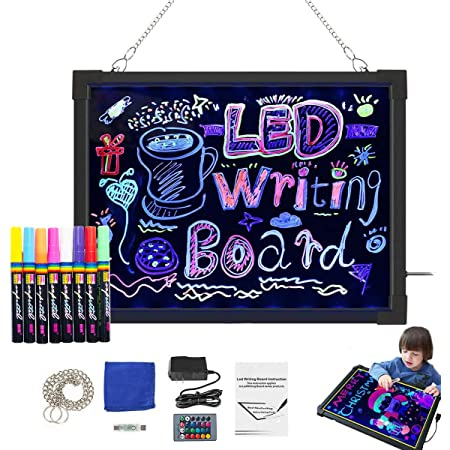 Yeahs Shop LED Message Writing Board 16''×12'' Illuminated Light Up Drawing Painting Boards Kids Acrylic Erasable Neon Flashing Board for Kitchen Menu Sign,Memo Notice, Educational Toys, Gifts