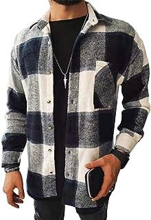 OEAK Mens Long Sleeve Plaid Shirt Lapel Button Down Cardigan Casual Slim Jacket Shirts
