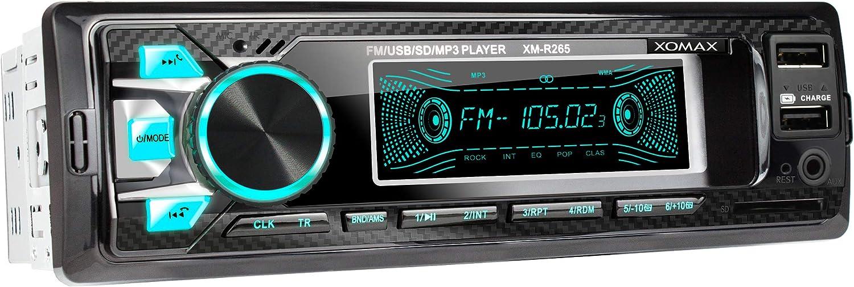 XOMAX XM-R265 Radio de Coche con Bluetooth I Carga del teléfono móvil a través del Segundo Puerto USB I Óptica de Carbono I 7 Colores Ajustables I USB, SD, AUX I 1 DIN