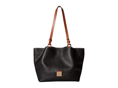 Dooney & Bourke Pebble Small Flynn (Black/Tan Trim) Handbags