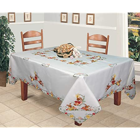 Cotton Table Cloth Rectangle Easter Table Cover for Spring Holiday Indoor and Outdoor Parties YIlanglang Easter Day Cute Bunny Table Runners with Colorful Eggs Catering Events