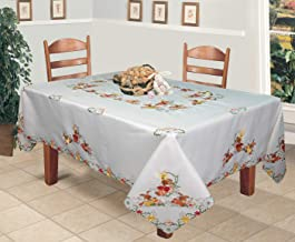 Creative Linens Spring Embroidered Easter Bunny Egg Floral Tablecloth 70x104 Rectangular & 12 Napkins White