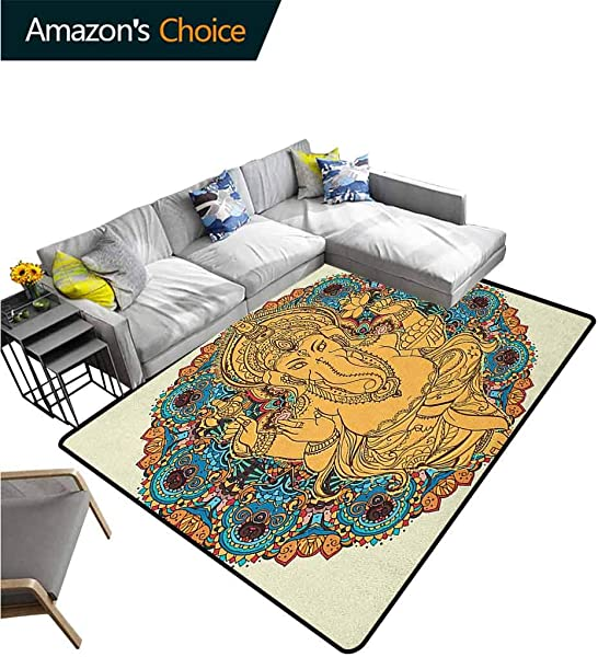 YucouHome Solid Door Mat Welcome Vintage Boho Elephant Head Figure And Lotus Flower Axe Medallion Durable Carpet Area Rug Living Dinning Room Bedroom Rugs And Carpets 6 X 9 Orange Yellow