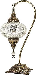 Lámparas de mesa y mesilla de noche - Lámpara de mesa de mosaico turco, impresionante estilo marroquí, pantalla de globo único, serie de cuello de cisne