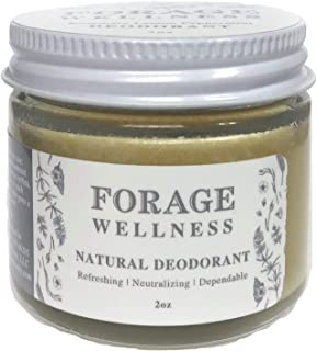 Forage Wellness Natural Deodorant (Rosemary Lemon Peppermint) Zero Waste 2oz Glass Jar