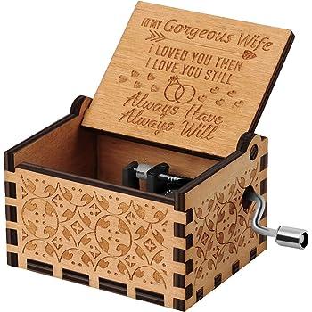 Nnduo You are My Sunshine cajas de música de madera, grabadas con láser, vintage, caja musical de madera, regalos para cumpleaños, Navidad, día de San Valentín, Husband to Wife, 2.55*1.97*1.5 inch: Amazon.es: