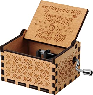 You are My Sunshine Wood Music Boxes,Laser Engraved Vintage Wooden Sunshine Musical Box Gifts for Birthday/Christmas/Valentine's Day (Wood-Husband to Wife)
