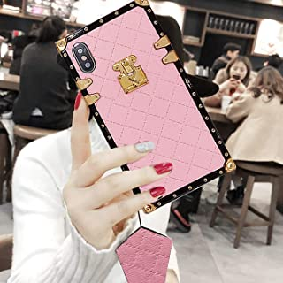 "Compatible for iPhone 12 PRO MAX 6.7"" Case,BabeMall Elegant Diamond Luxury Corner Square PU Leather Classic Slim Anti-Scra..."