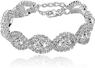 Women's Silver/Gold Plated Crystal Bracelets 6.7