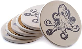 Cute Ceramic Cork Coasters for Glasses - Table Beige Coaster Absorbent - Set of 6 - Octopus Decor - Octopus Gifts Cup Coasters for Her and Him - Ocean Nautical Decor - Cool Glass Solid Coasters