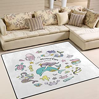 Use7 - Alfombra para salón o Dormitorio con diseño de Sirena, Ancla y Pulpo, Tortuga de mar, Caballito de mar, Tela, 160cm x 122cm(5.3 x 4 Feet)