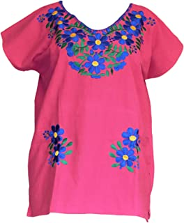Autentic Traditional Women's Mexican Peasant Blouse Cotton Tops Shirt Embroidered on Looms of Mexican artisans (Large, Pink)