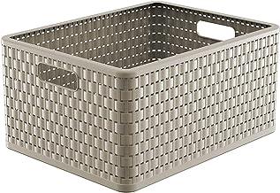 Rotho Country pudełko do przechowywania 28 l o wyglądzie rattanu, tworzywo sztuczne (PP), nie zawiera BPA, cappuccino, A...