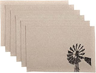 VHC Brands Farmhouse Tabletop Kitchen Miller Farm Charcoal Windmill Cotton Stenciled Chambray Graphic/Print Rectangle Placemat Set of 6, One Size, Khaki Tan