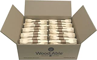 WoodAble - Disposable Wooden Forks   Alternate to Plastic Cutlery - Eco Biodegradable Replacements (1,000 Count)