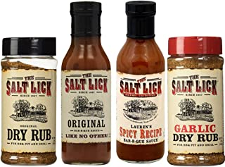 Salt Lick Favorites Assortment, one each of Original Dry Rub, Original Sauce, Spicy Sauce and Garlic Dry Rub