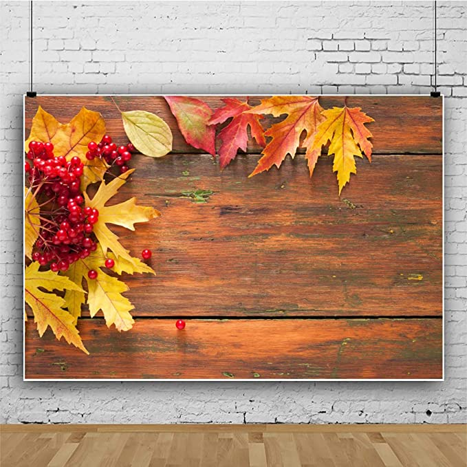Rowan 10x12 FT Backdrop Photographers,Vintage Autumn Composition with Dried Rowan Leaves Berries on Wooden Planks Background for Photography Kids Adult Photo Booth Video Shoot Vinyl Studio Props