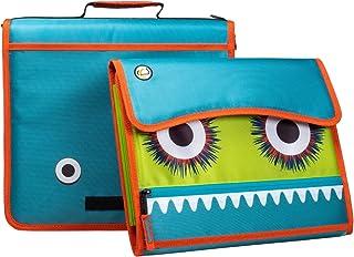 Case-It Monsters The Sidekick Zipper Binder, 5 - Color Tabbed Expanding File, Aqua