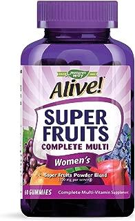 Nature's Way Alive! Super Fruits Women's Multivitamin Gummies, Vitamins A, C, D, E, & full B-Vitamin Complex, 60 Count