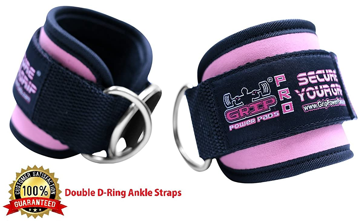 Grip Power Pads Best Ankle Straps for Cable Machines Double D-Ring Adjustable Neoprene Premium Cuffs to Enhance Legs, Abs & Glutes for Men & Women yrmcuxrygzcecqda