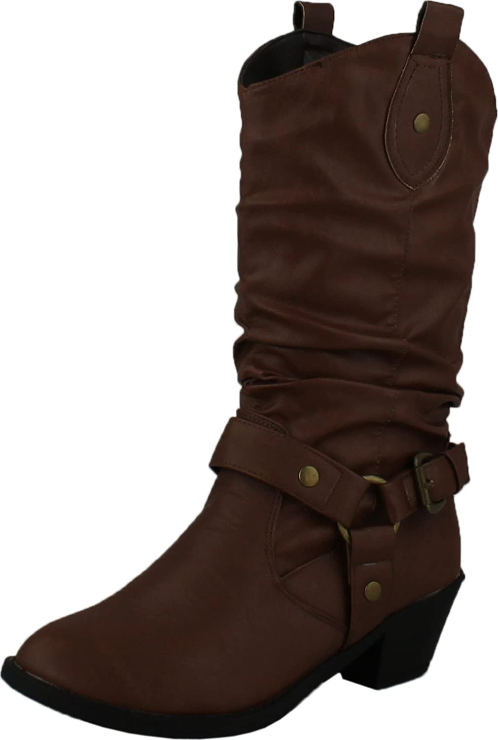 Lolli Couture Karyn's Collection Womens Dale Western Cowboy Boots,Brown-Dale,5.5