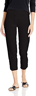 SLIM-SATION Women's Pull on Solid Skinny Crop with Faux L Pockets & Lacing