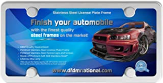 DFDM National License Plate Frame Stainless Steel Kit Mirror Buffed Finish, Includes SS Screws, Fasteners and Caps 4 Hole Frame - Standard Non Anti-Theft Model