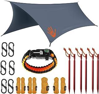 Rain Fly EVOLUTION 12x10/10x10 Hammock Waterproof Tent TARP & Survival Bracelet - 22 pcs - Lightweight - Backpacking Appro...