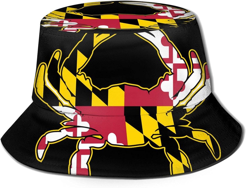 Maryland Flag Max 73% OFF Crab Arlington Mall Bucket Hat Sun Packable Unisex Summer Fis