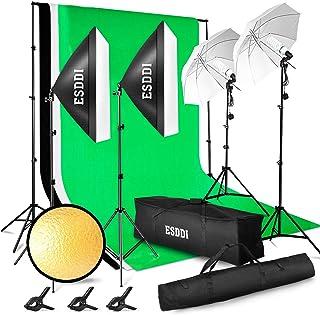 ESDDI - Kit de iluminación Profesional con Softbox y Paraguas - 4x85W - para Estudio de fotografía y vídeo - Fondo con Soporte (Blanco Negro y Verde) - 3 Metros x 2.6 Metros con Bolsa de Transporte